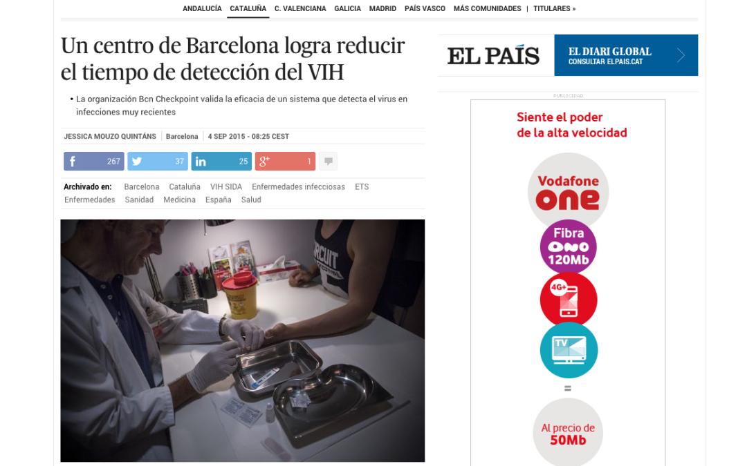El País: Un centro de Barcelona logra reducir el tiempo de detección del VIH